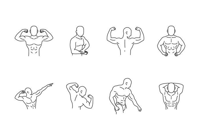 Bodybuilding pose ícone conjunto vetor