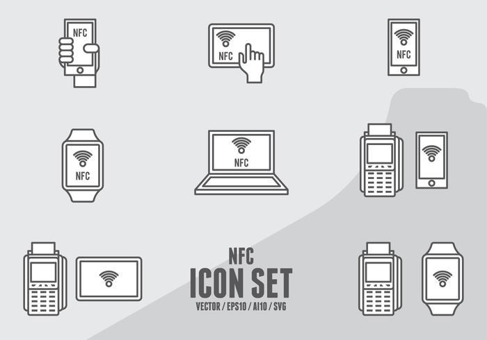 Ícones de pagamento NFC vetor