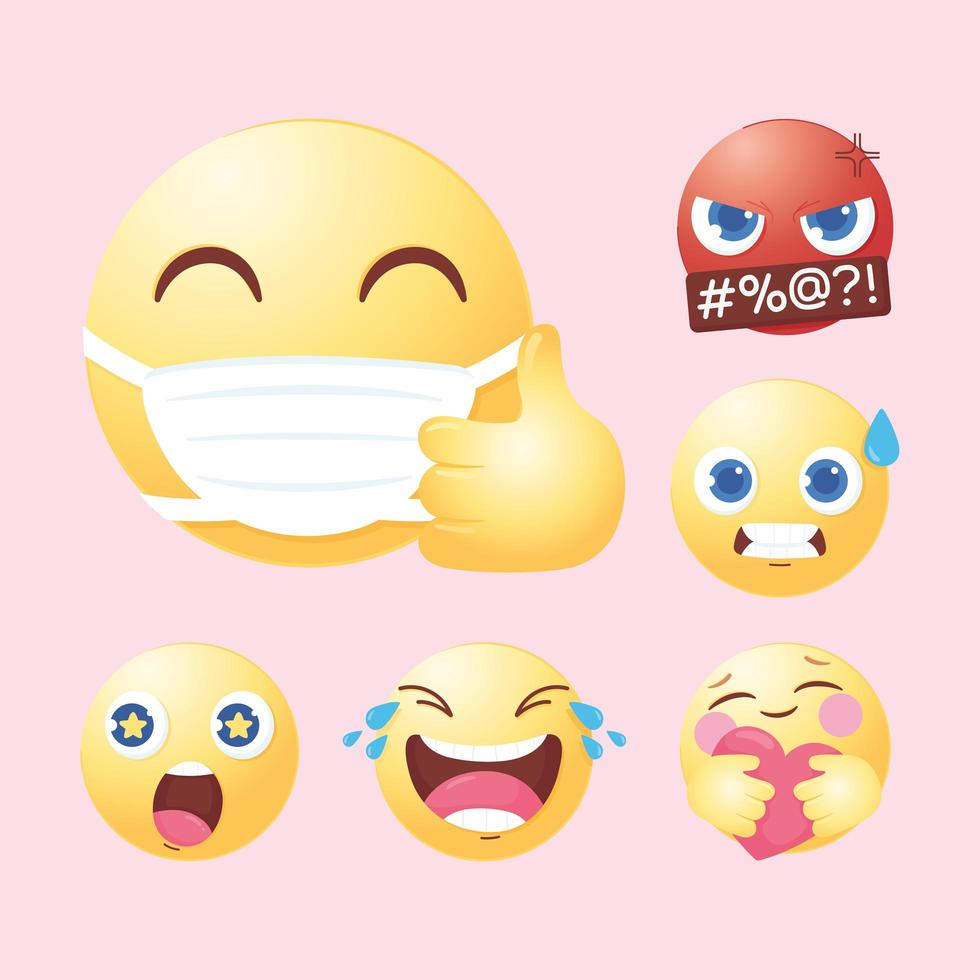conjunto de emoji de mídia social vetor