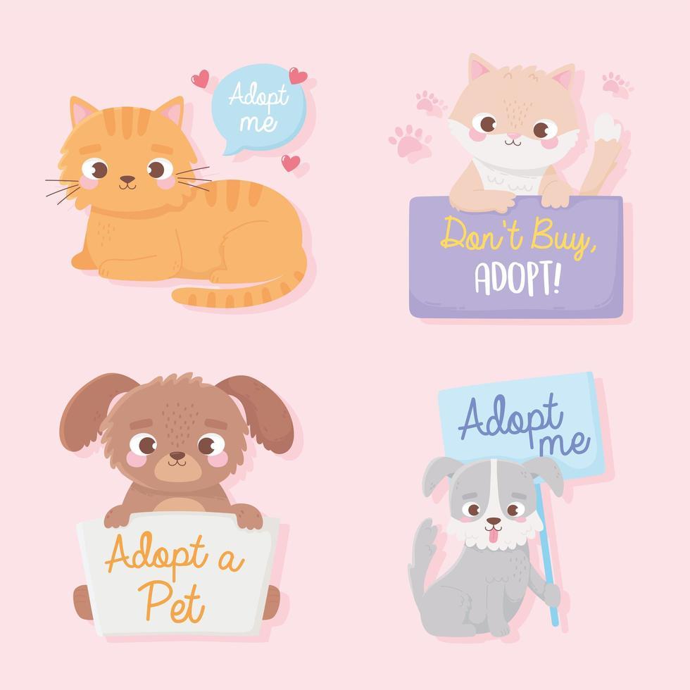 adoção de animais de estimação com animais fofos e placas de adoção vetor