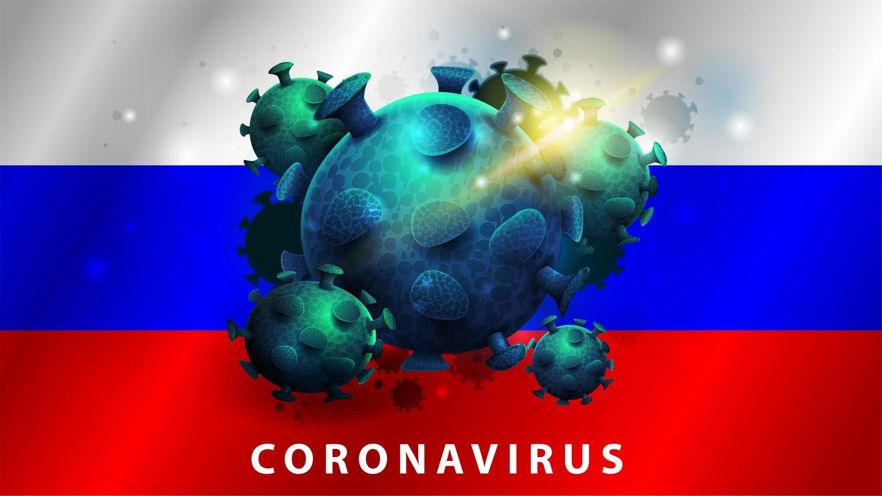 sinal do coronavírus covid-2019 na bandeira da Rússia vetor