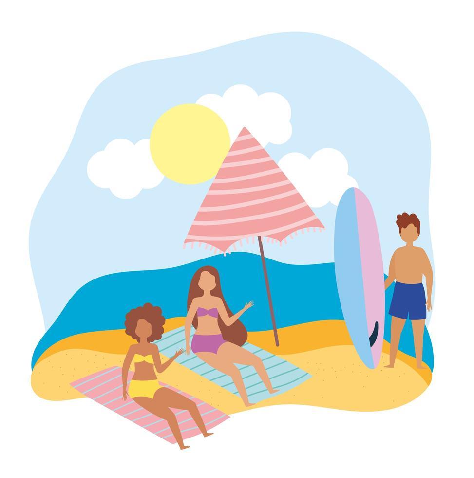 pessoas na praia fazendo atividades de verão vetor