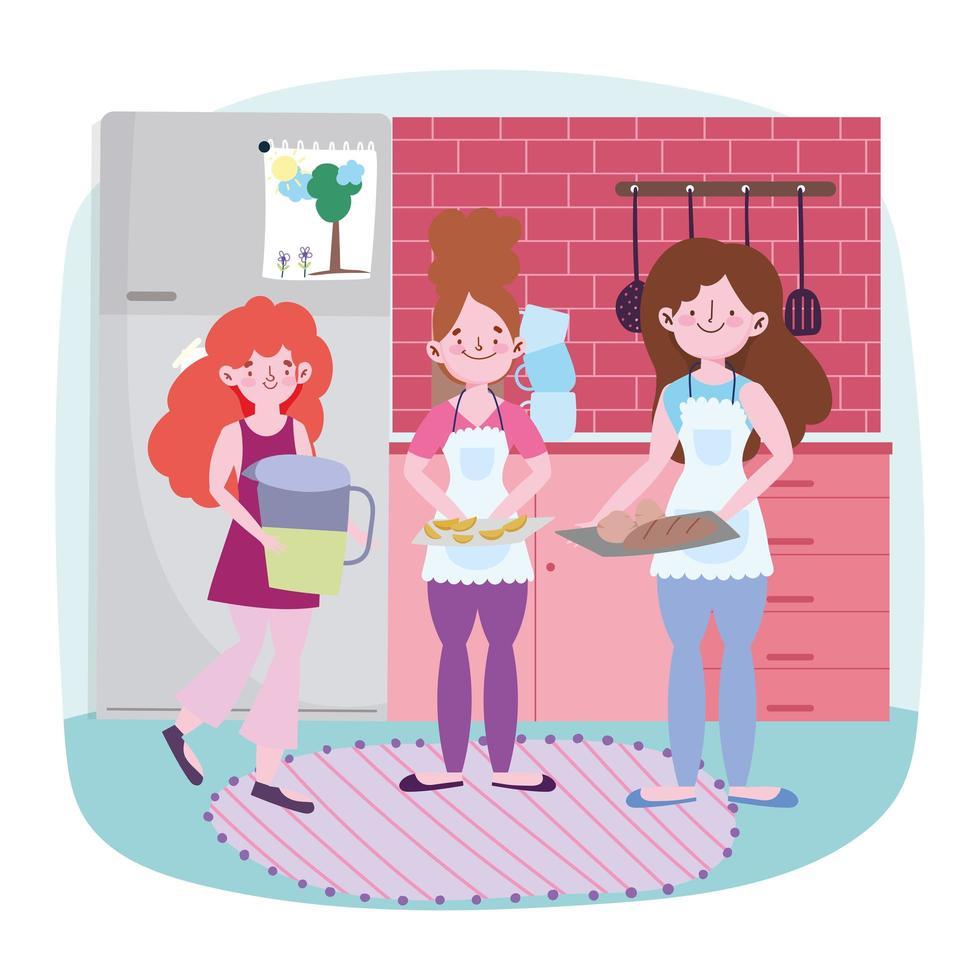 mulheres cozinhando comida na cozinha vetor
