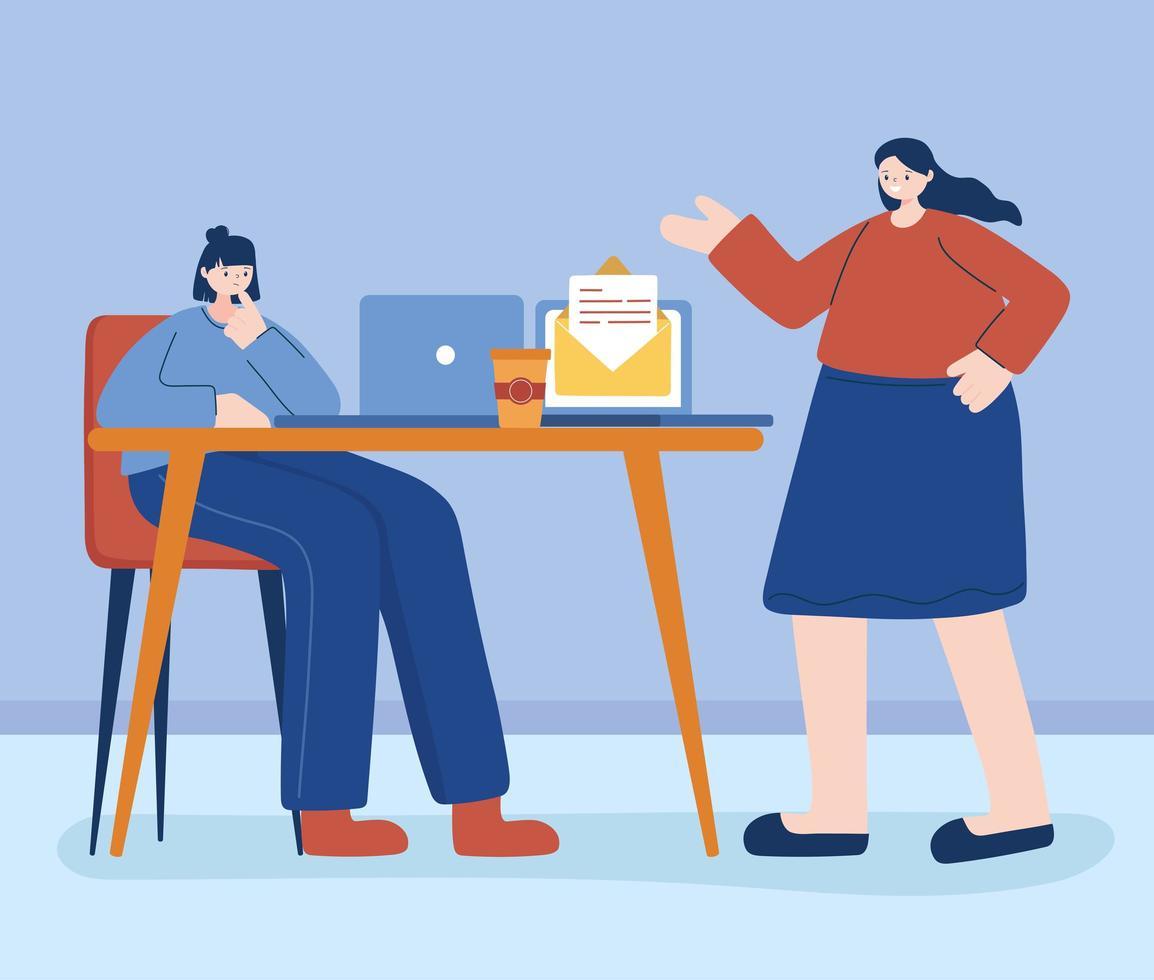 mulheres trabalhando juntas vetor