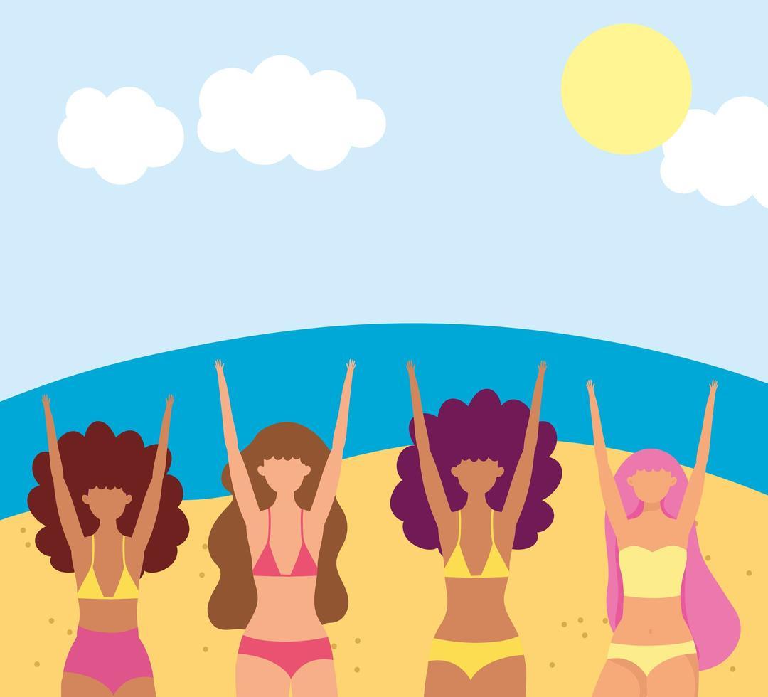 mulheres na praia fazendo atividades de verão vetor