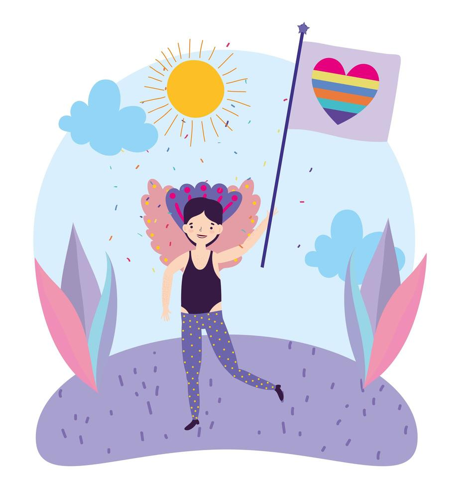 personagem de desenho animado lgbtqi para celebração do orgulho vetor