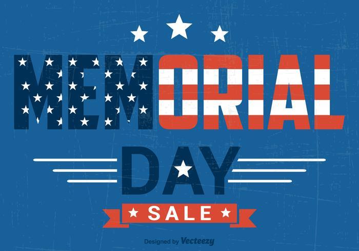 Memorial Day Sale Vector Poster Retro