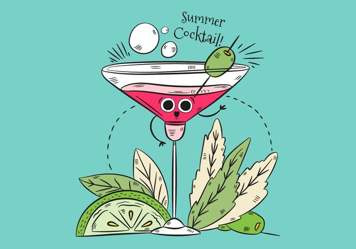 Ilustração bonito do caráter do cocktail com folhas Cal e citações vetor