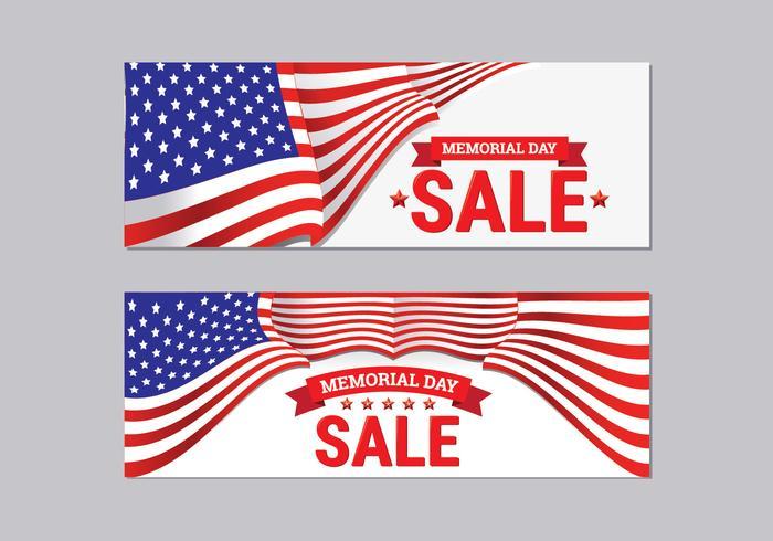 Coleção da bandeira da venda do Memorial Day vetor