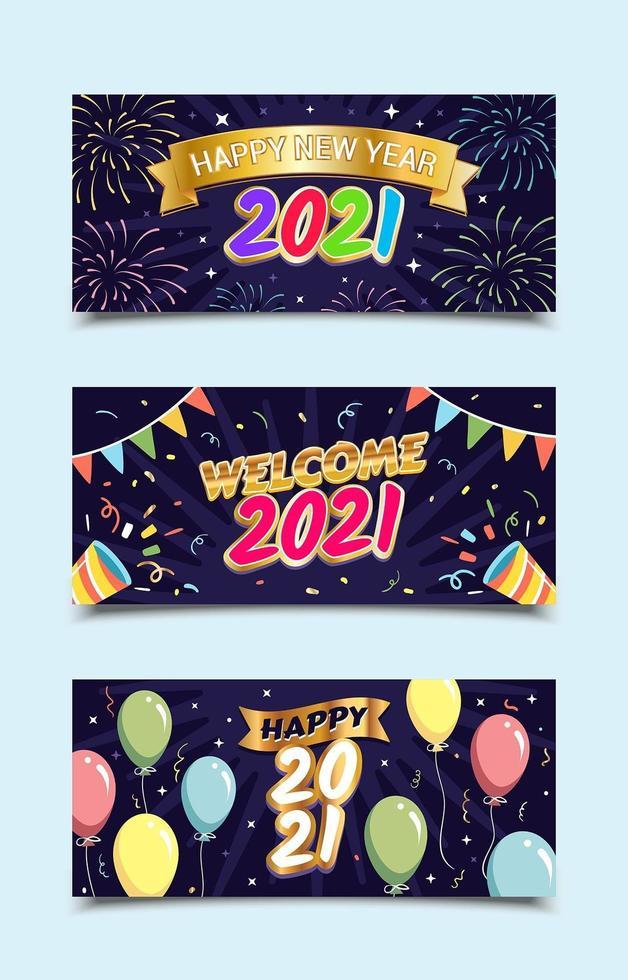 modelos de banner de saudações feliz ano novo 2021 vetor