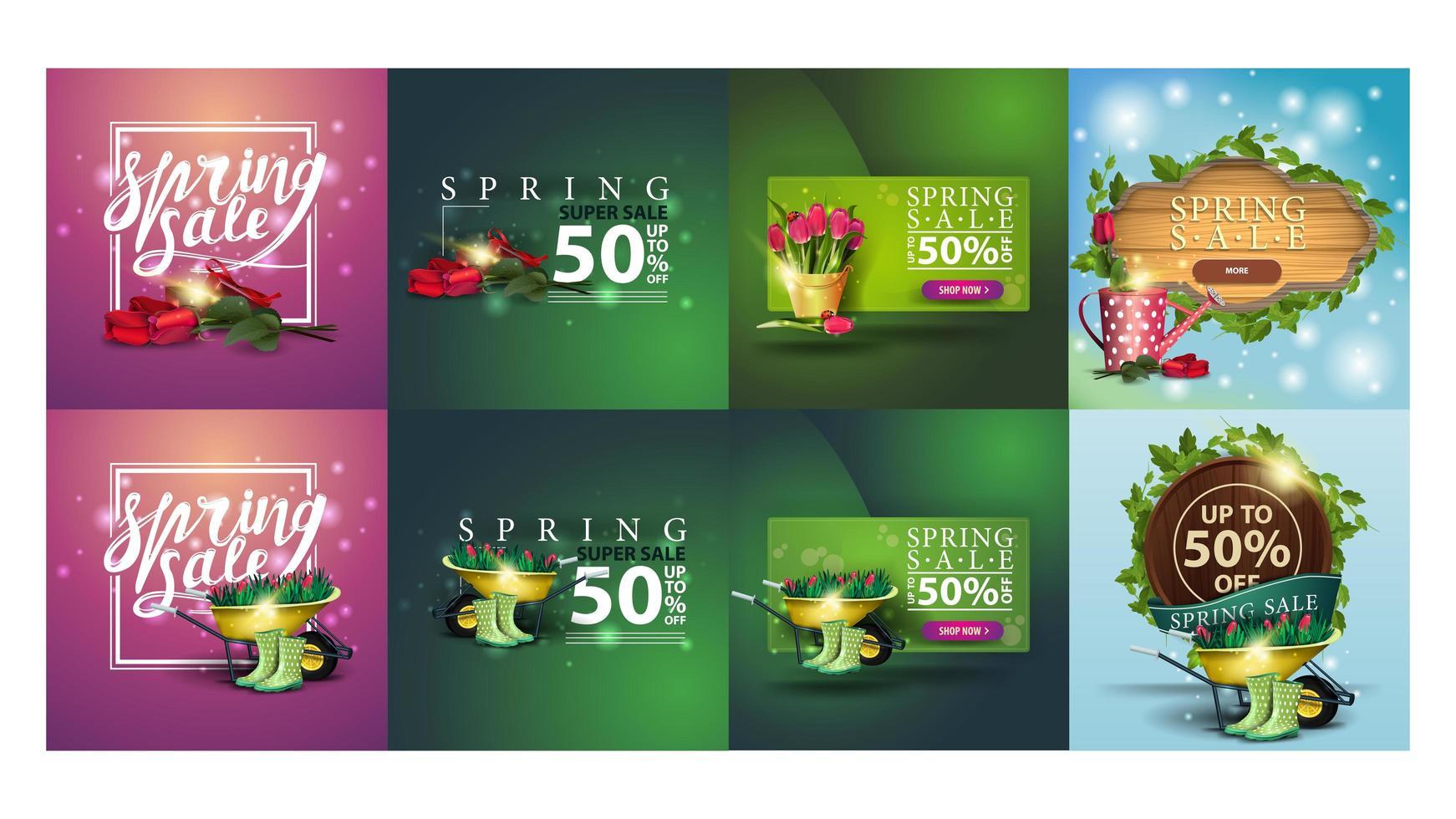 conjunto de banners de descontos de primavera vetor