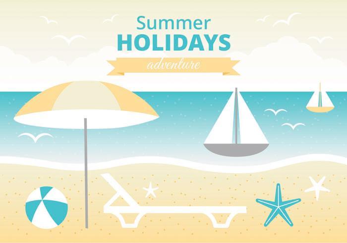 Vetor livre das férias de verão cartoes