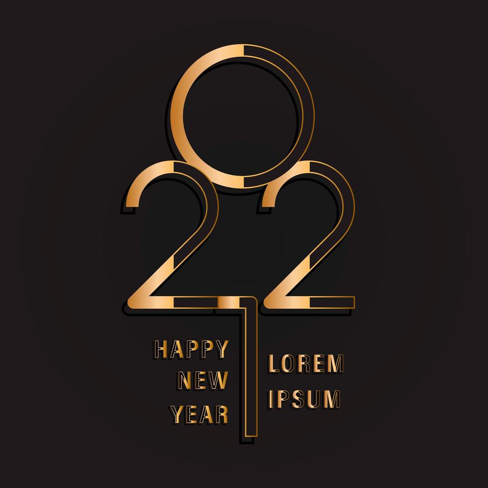 ouro feliz ano novo 2021 vetor