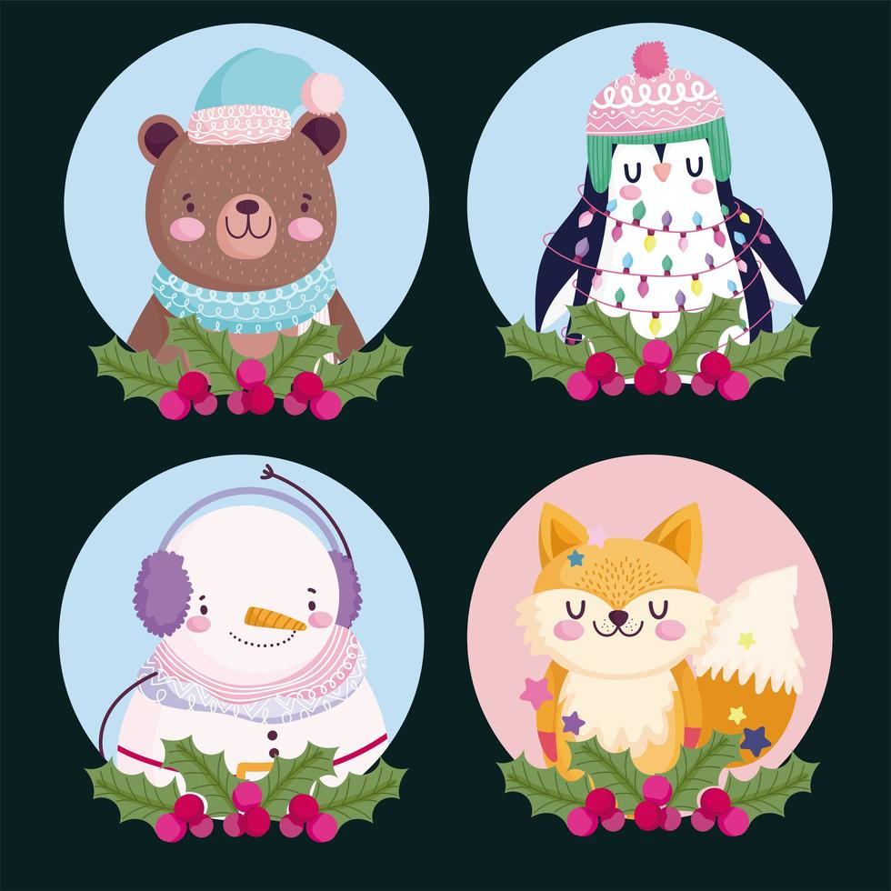 Natal personagem fofa conjunto de ícones vetor