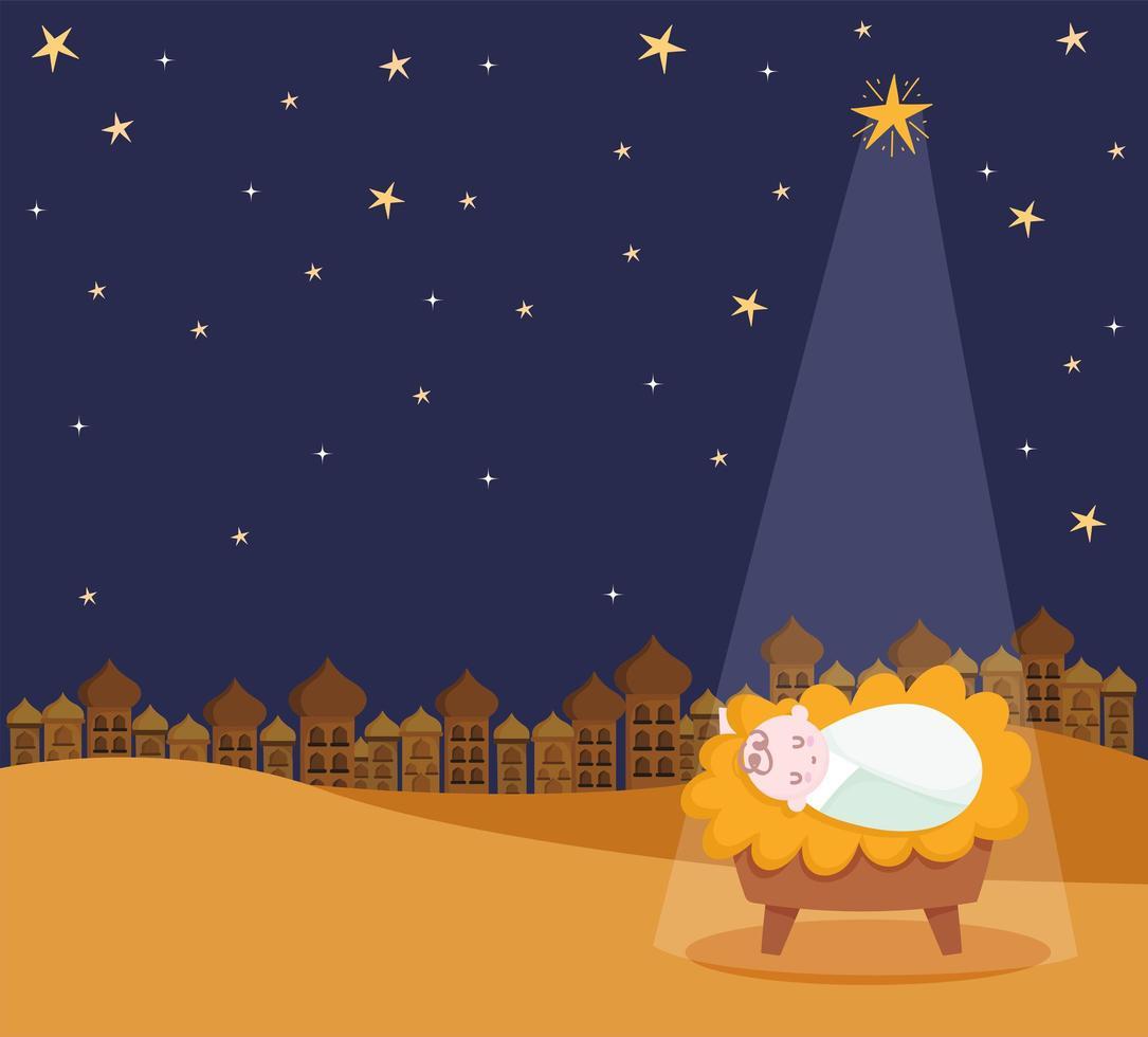 banner de feliz natal e presépio com o bebê jesus vetor