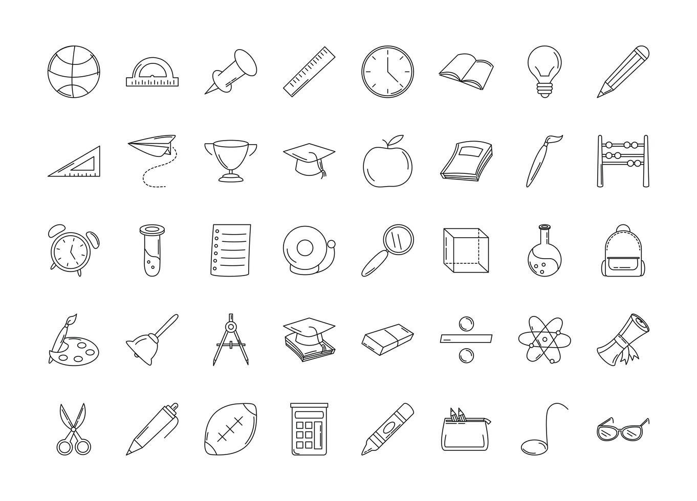 volta às aulas e conjunto de ícones de linha de educação vetor