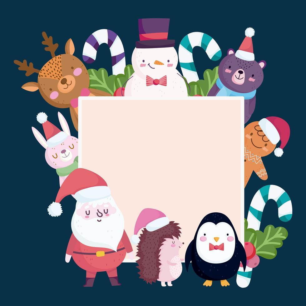 banner de feliz natal com personagens fofinhos vetor