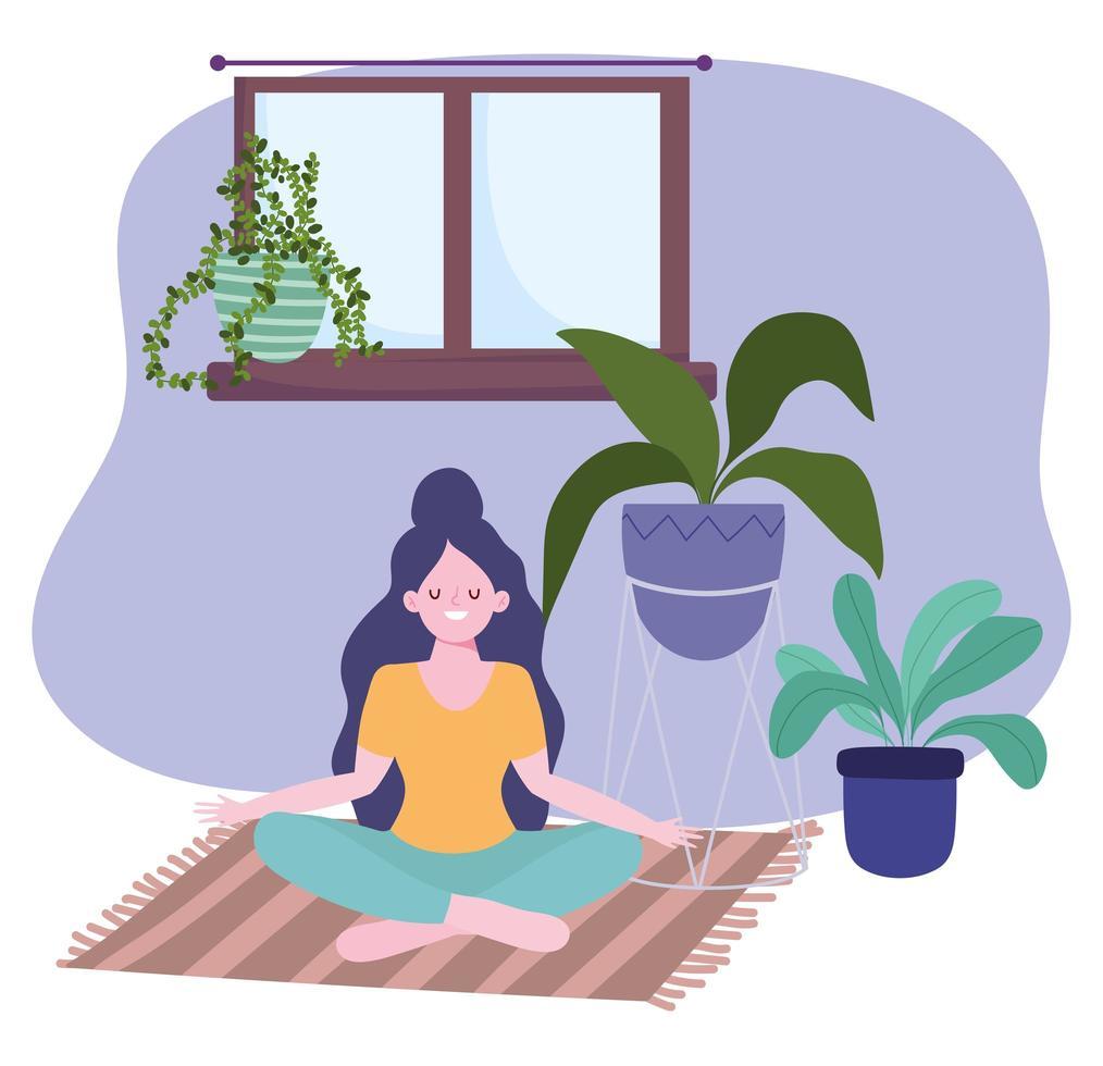 garota praticando ioga, atividade de auto-isolamento em quarentena vetor