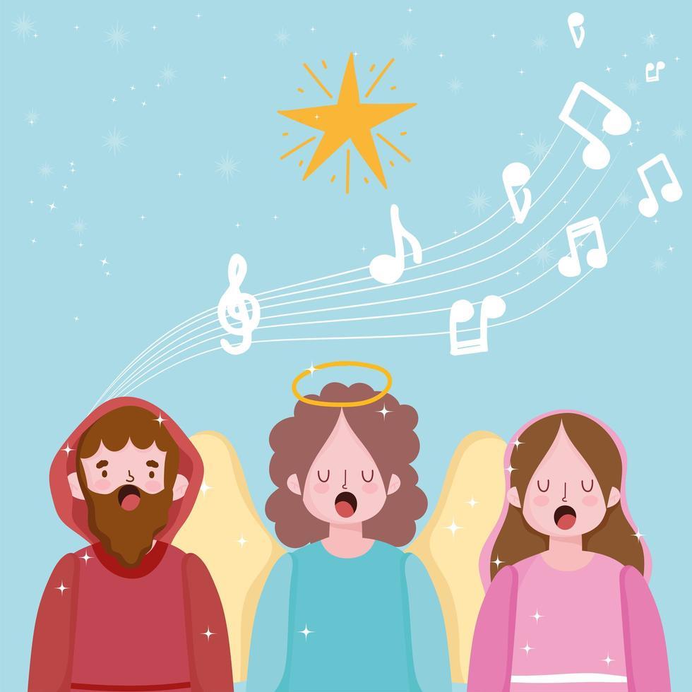 bandeira da natividade wirh joseph, mary e anjo cantando vetor