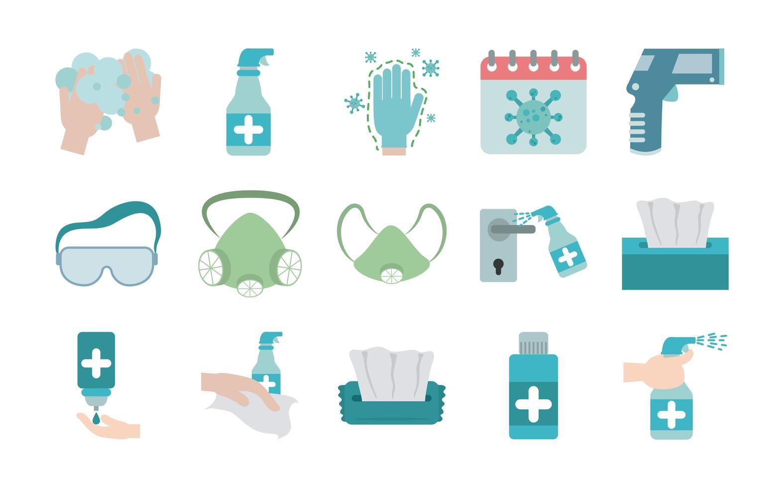 Conjunto de ícones simples de prevenção de pandemia de coronavírus vetor