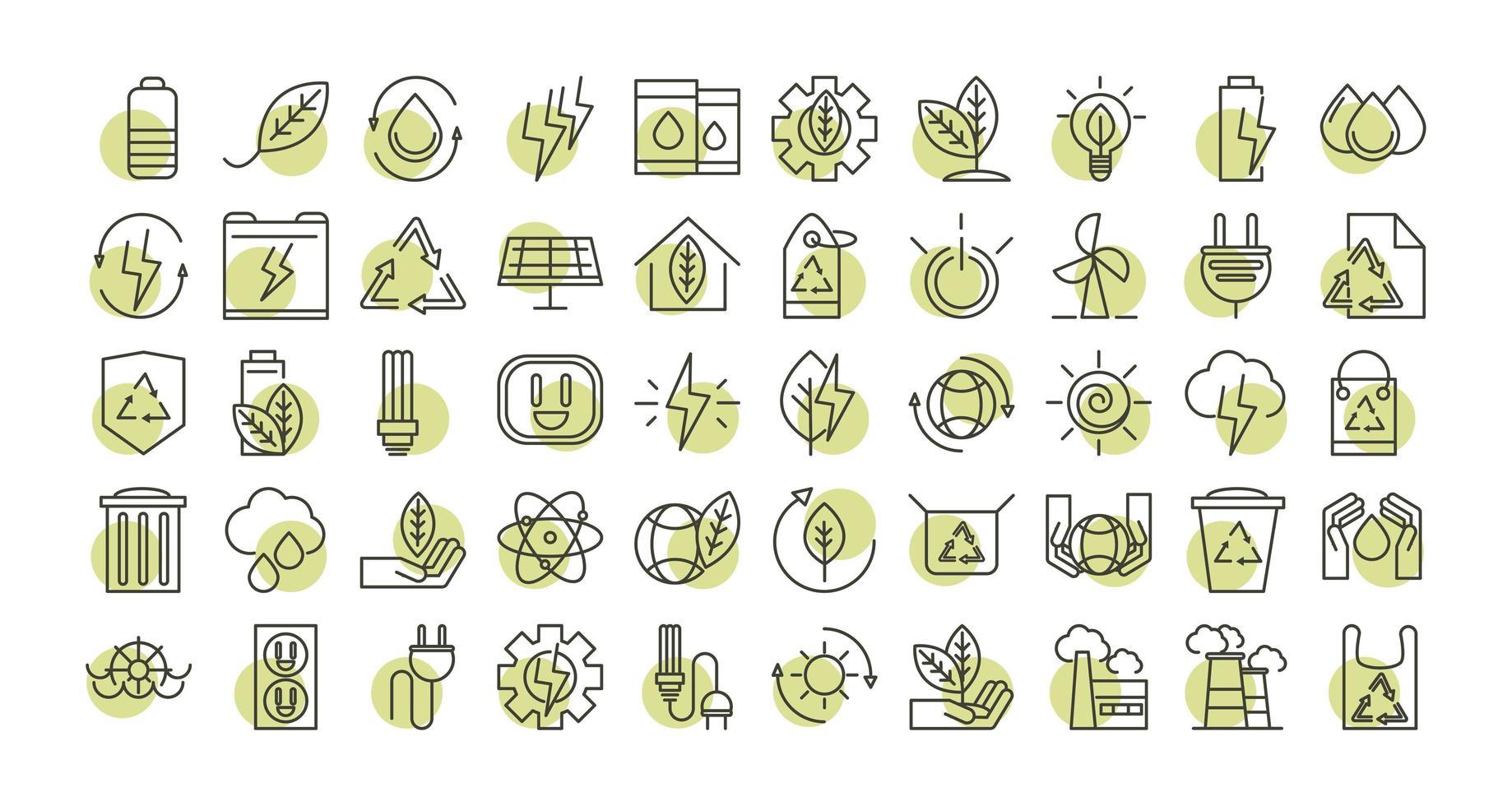conjunto de ícones de energia ecológica sustentável, renovável e verde vetor