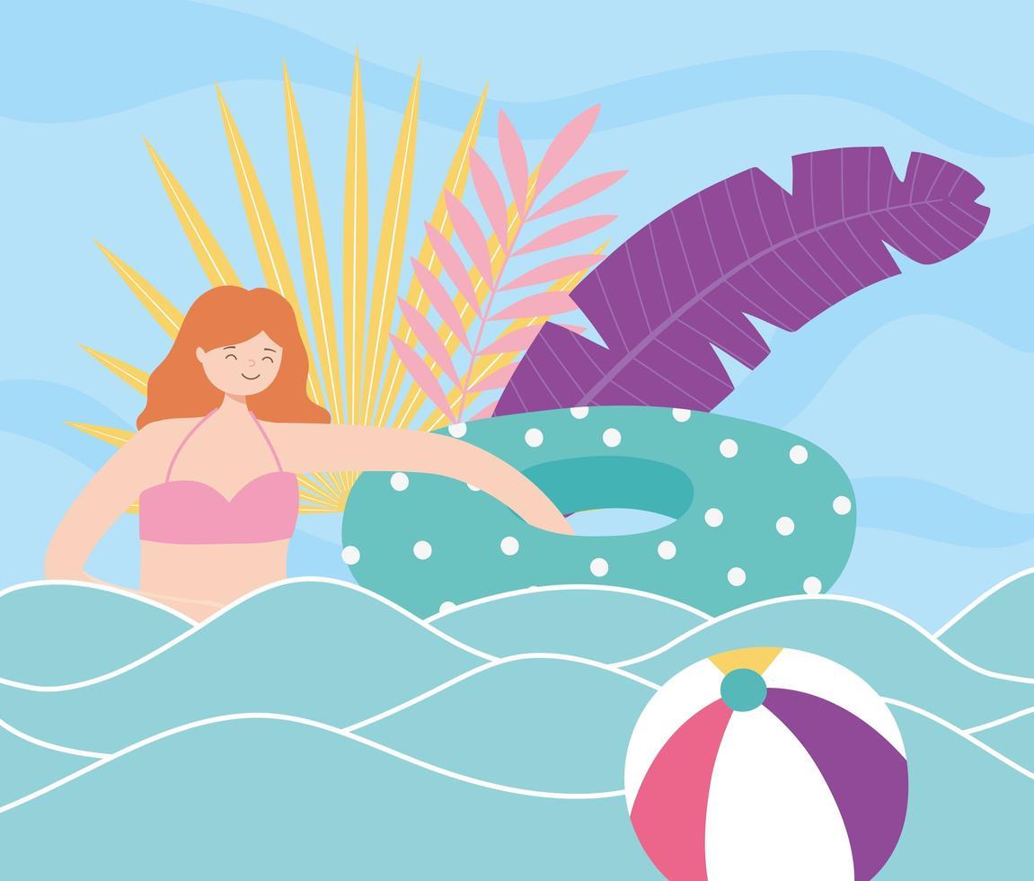 férias de verão com a garota na praia vetor