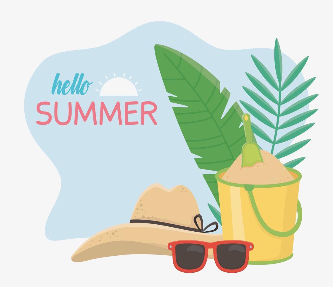 Olá férias de verão e composição da praia vetor