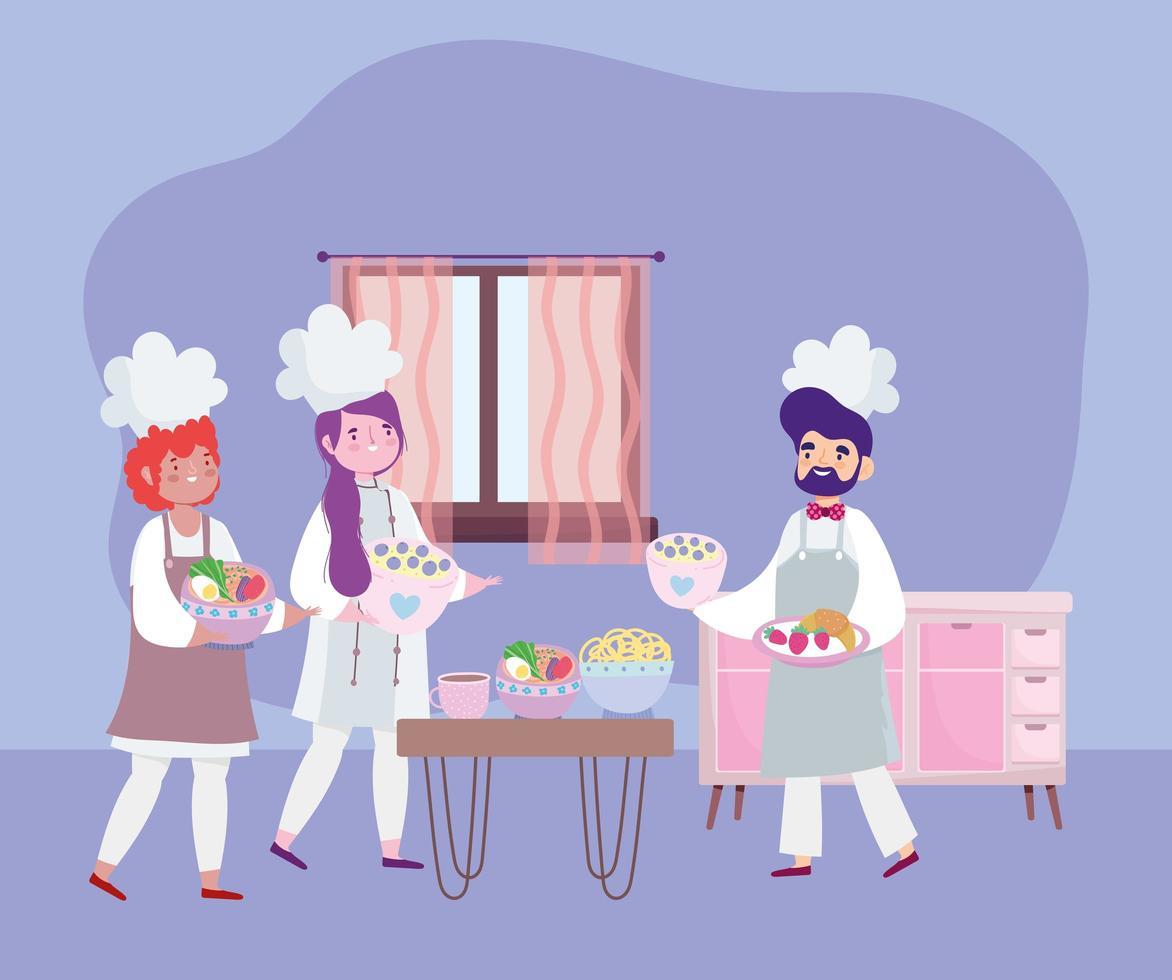 chefs femininos e masculinos cozinhando receitas em quarentena vetor