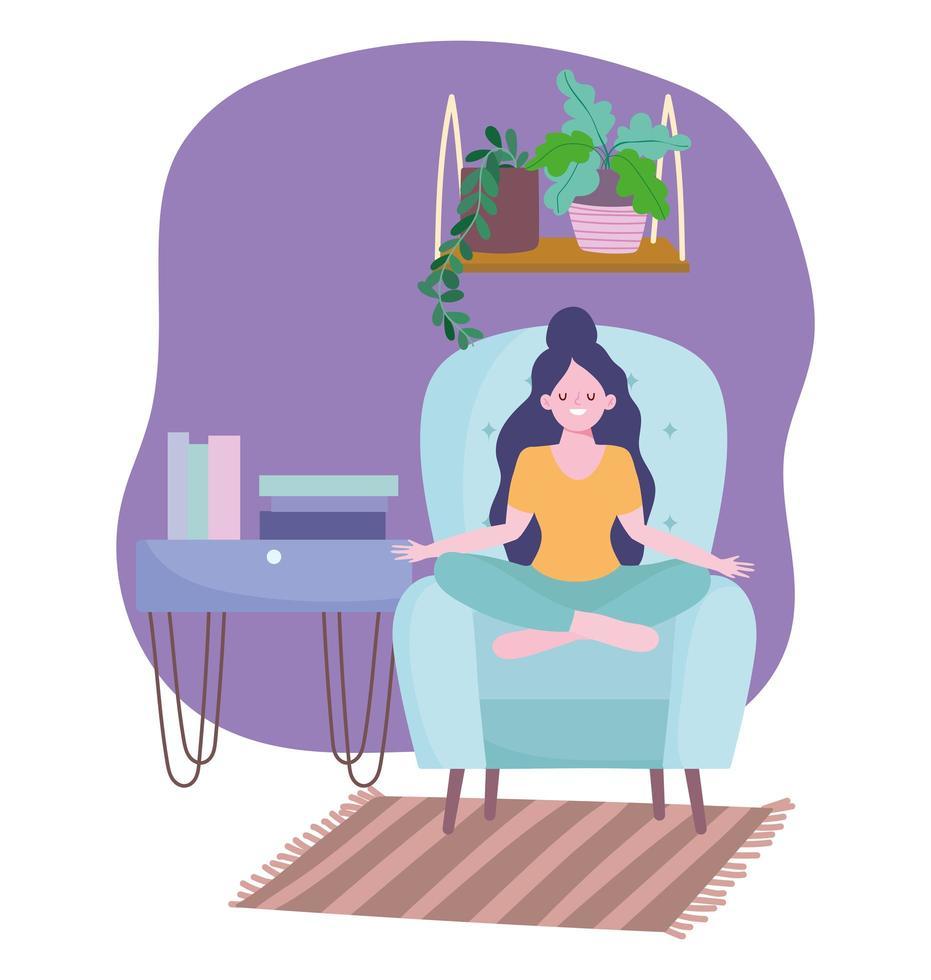 menina meditando, atividade de auto-isolamento em quarentena vetor
