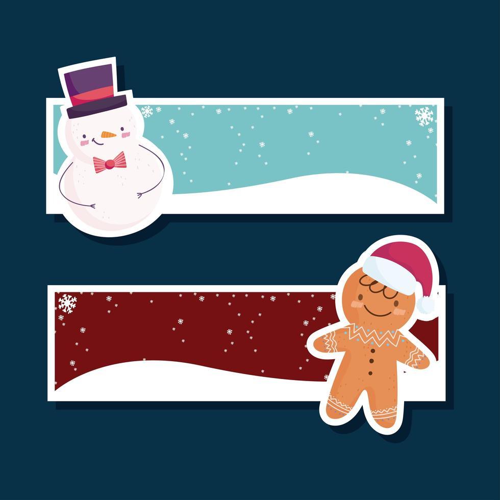 banner de feliz natal com boneco de neve e pão de mel vetor