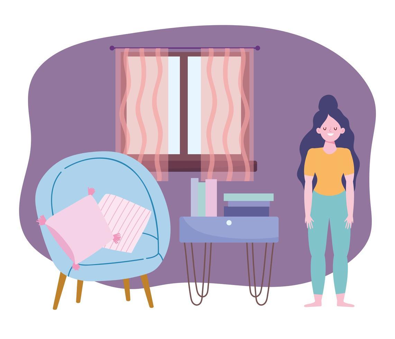 mulher fazendo atividades de quarentena dentro de casa vetor