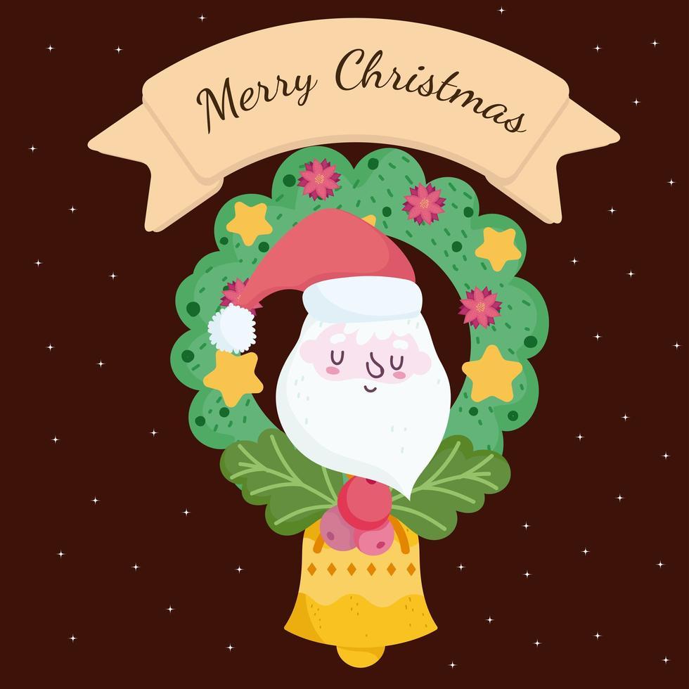 banner de feliz natal com rosto de papai noel e grinalda vetor