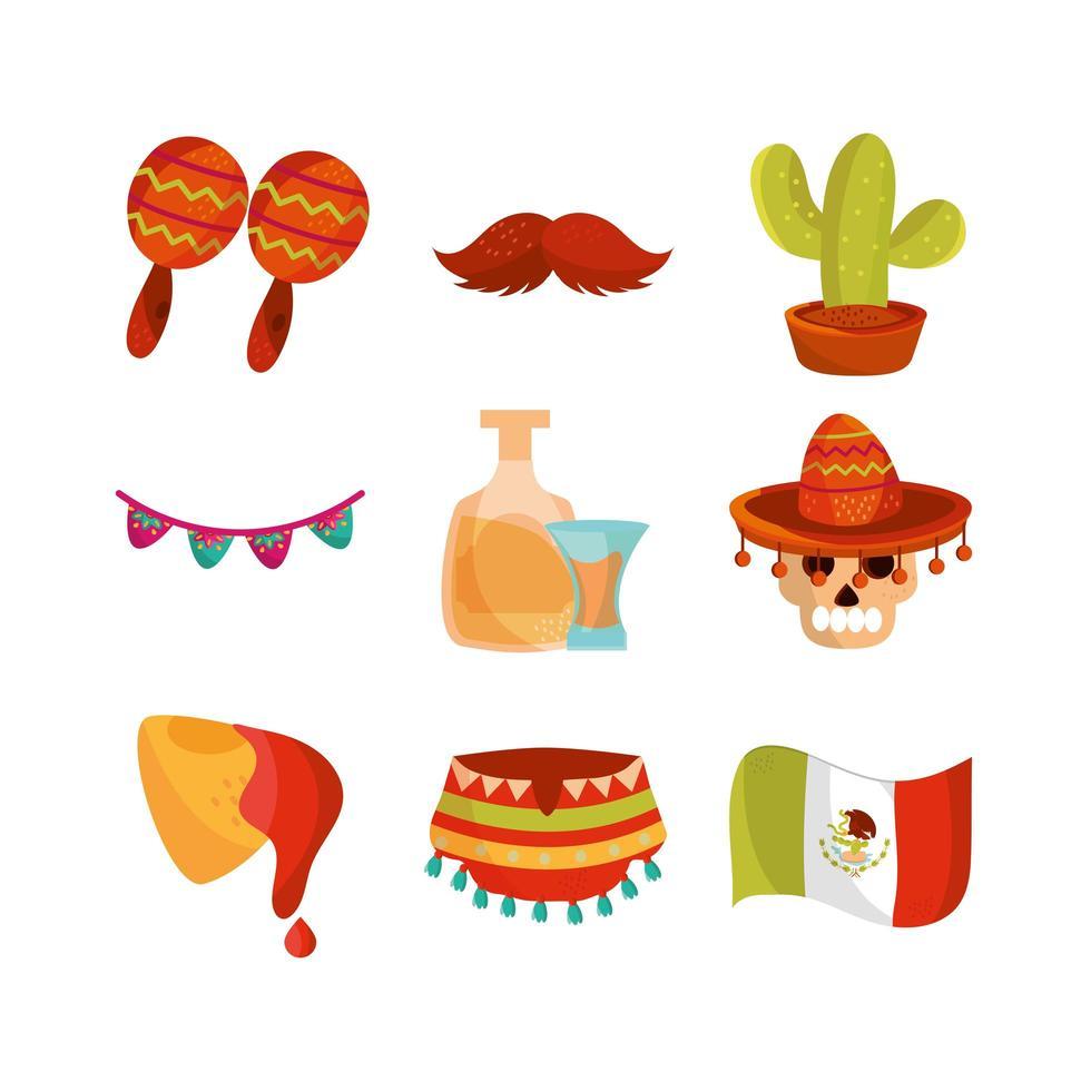 cinco de mayo, conjunto de ícones de decoração mexicana vetor