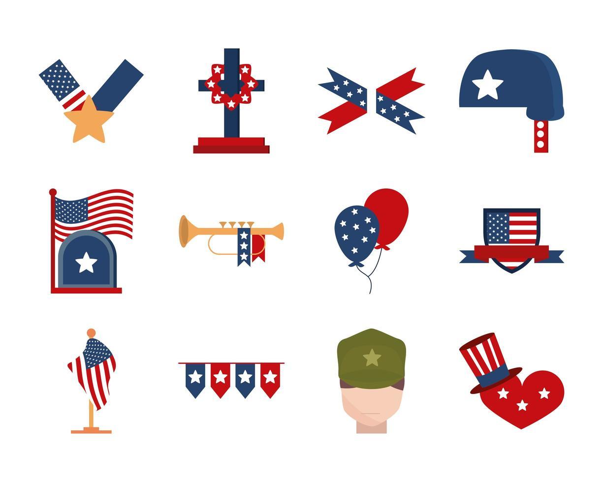 dia do memorial, conjunto de ícones da celebração nacional americana vetor