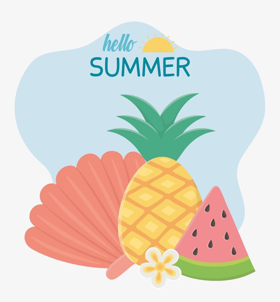 olá férias de verão e composição de frutas vetor