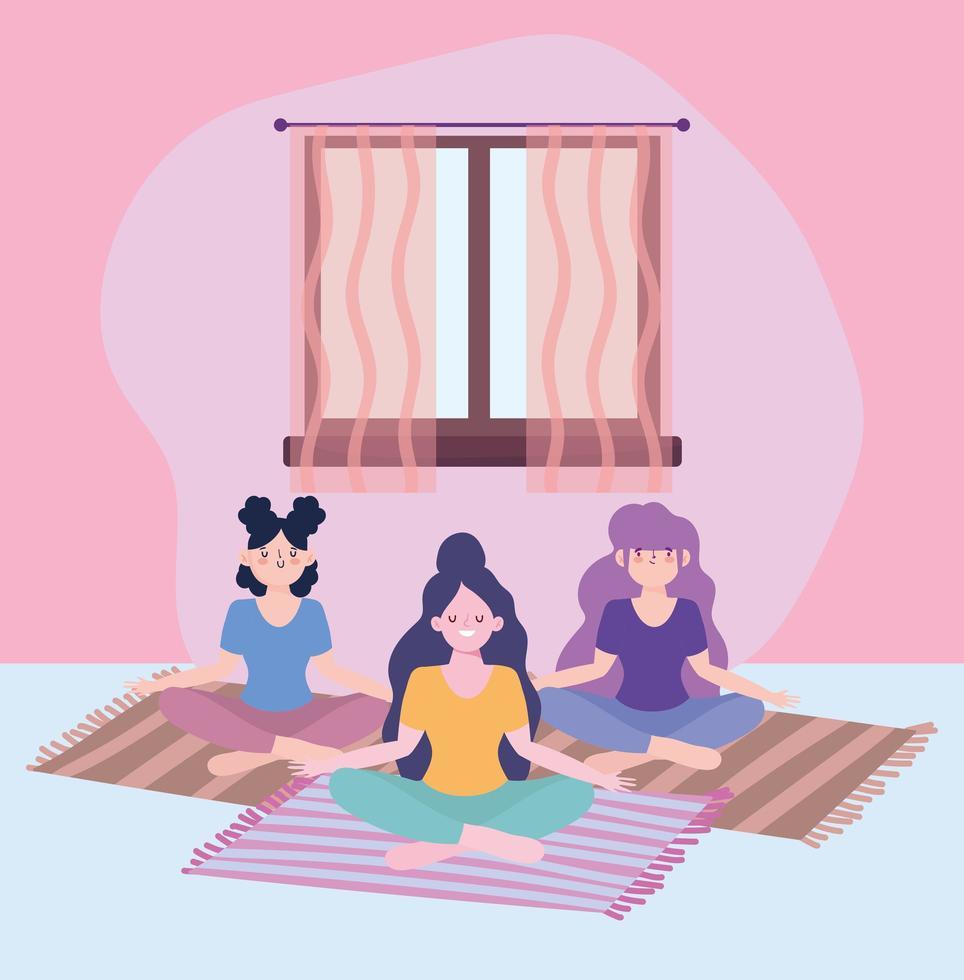 meninas meditando, atividade de auto-isolamento em quarentena vetor