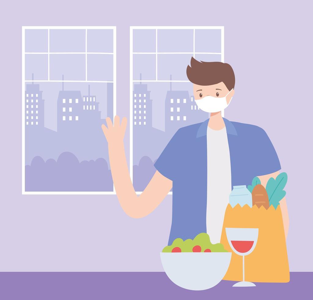 homem usando uma máscara facial com comida vetor