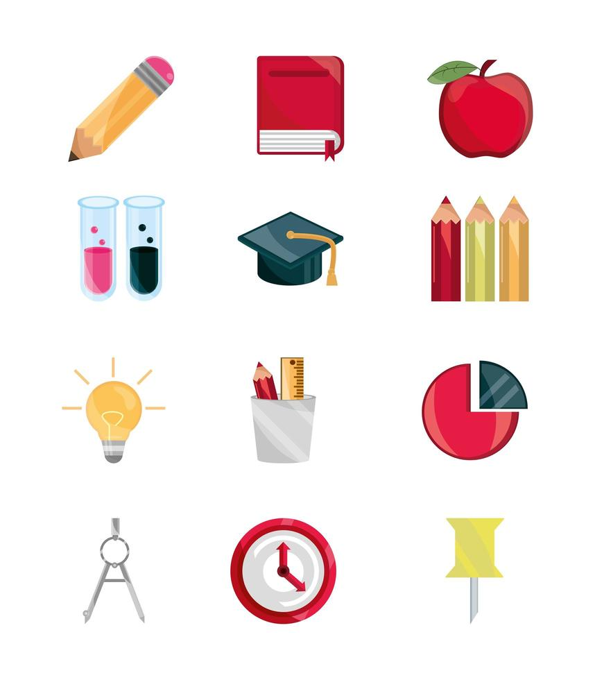 voltar às aulas e educação conjunto de ícones simples vetor
