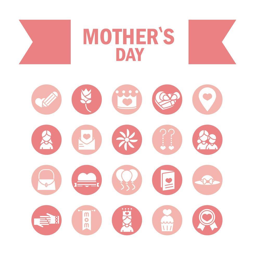 conjunto de ícones de celebração do dia das mães vetor