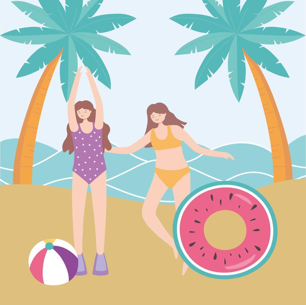 férias de verão com garotas na praia vetor