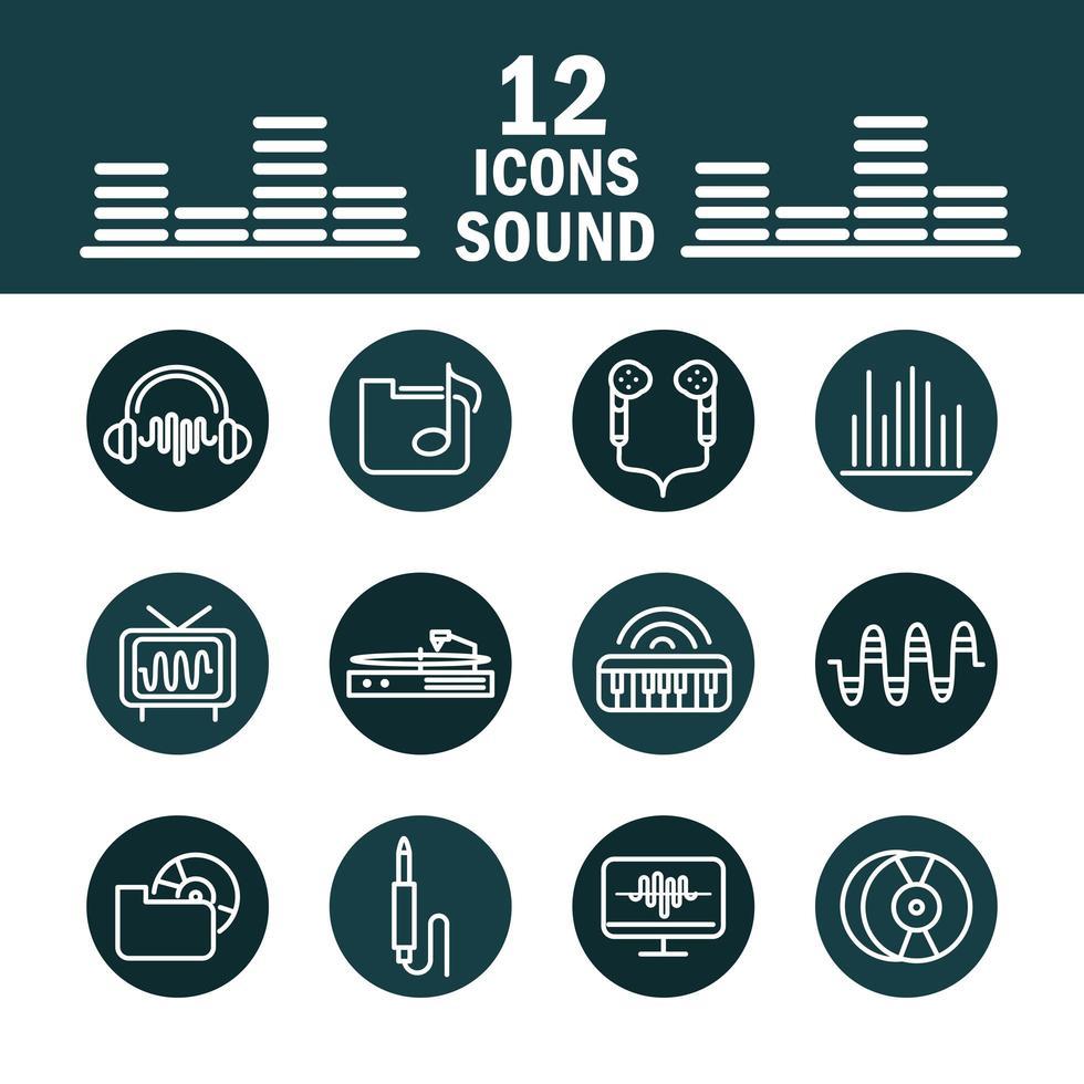 conjunto de ícones de som e áudio, música e volume vetor