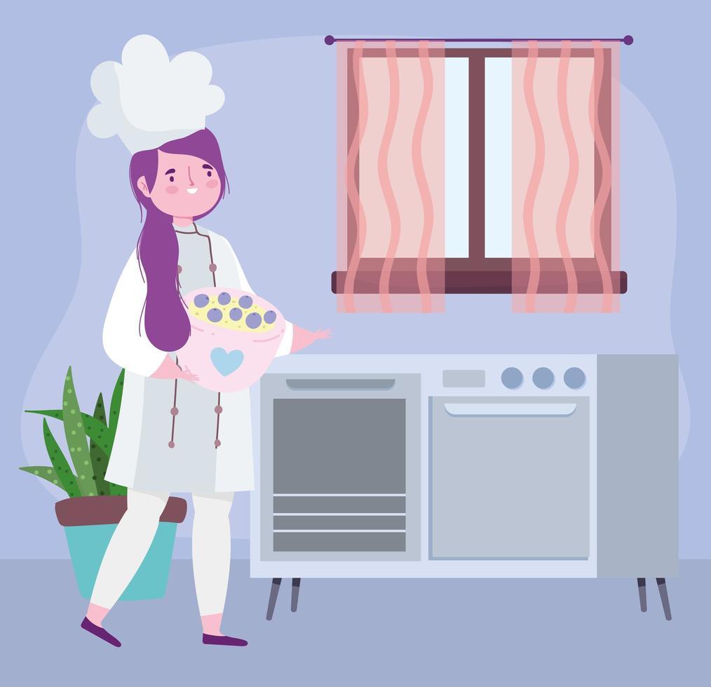 receitas culinárias de chef feminina em quarentena vetor