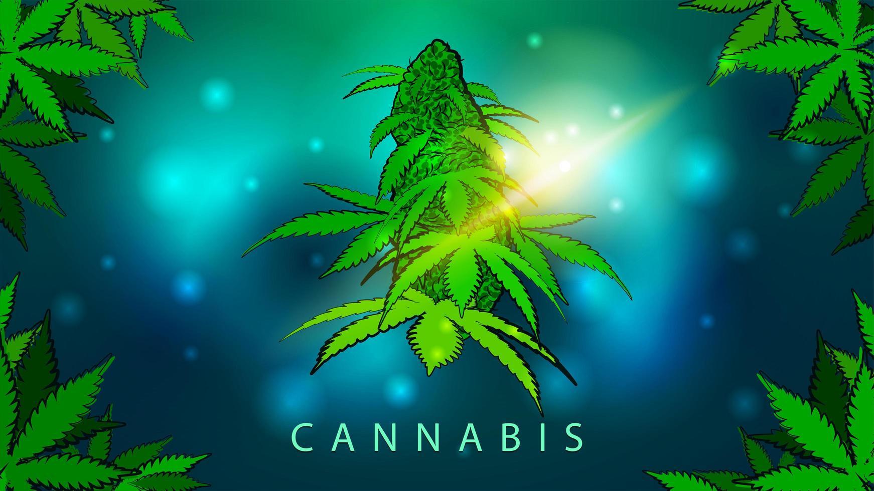 ilustração brilhante verde e azul com flor de cannabis vetor