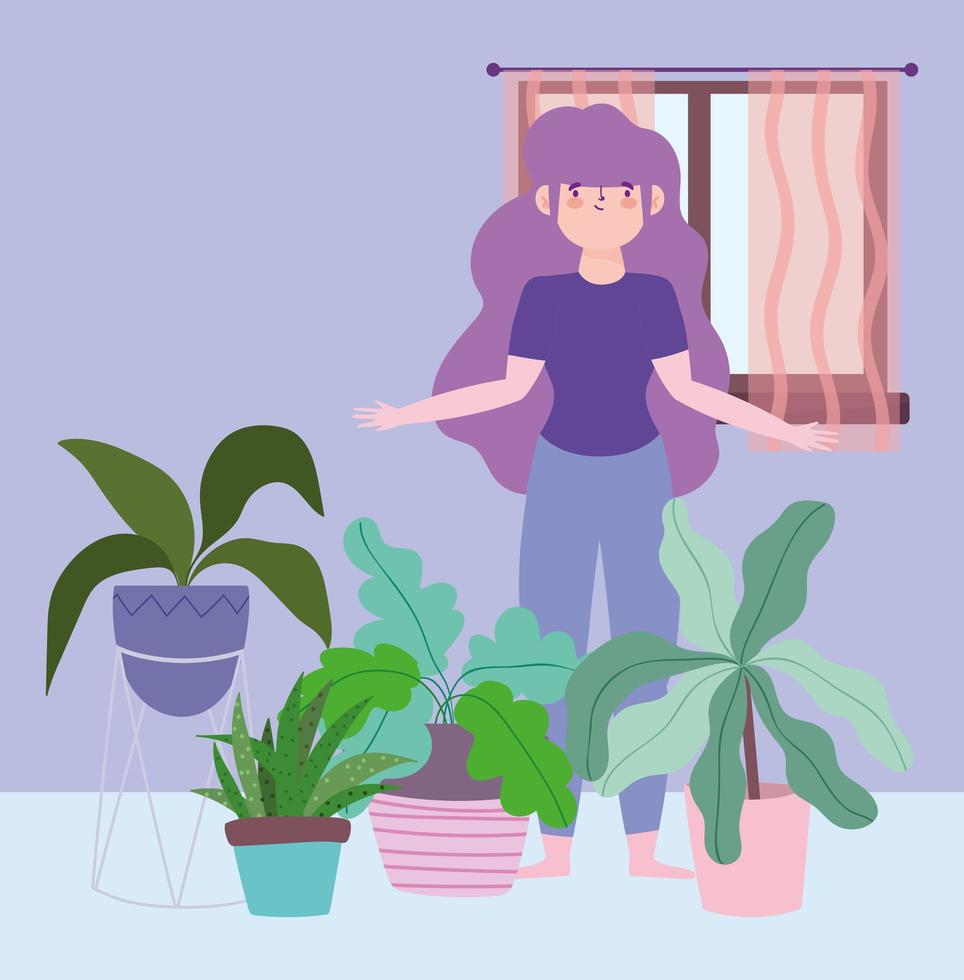 mulher com decoração de plantas de interior, atividades em quarentena vetor