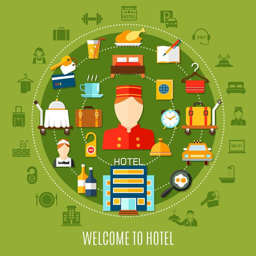 bem-vindo ao hotel banner redondo com ícones vetor