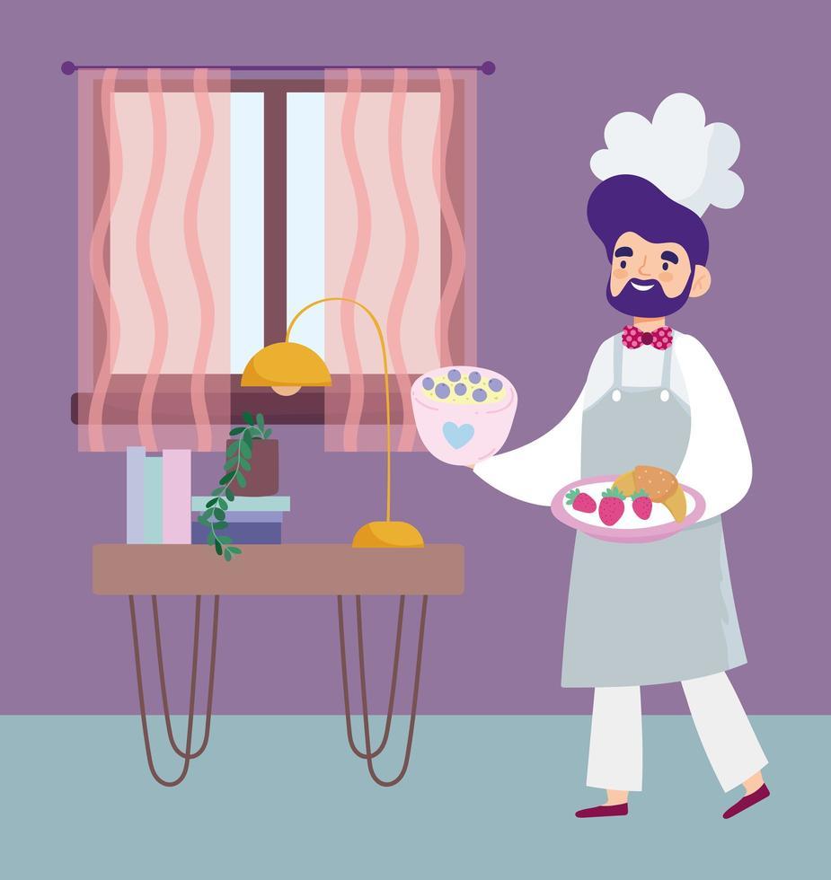 receitas culinárias de chef masculino em quarentena vetor