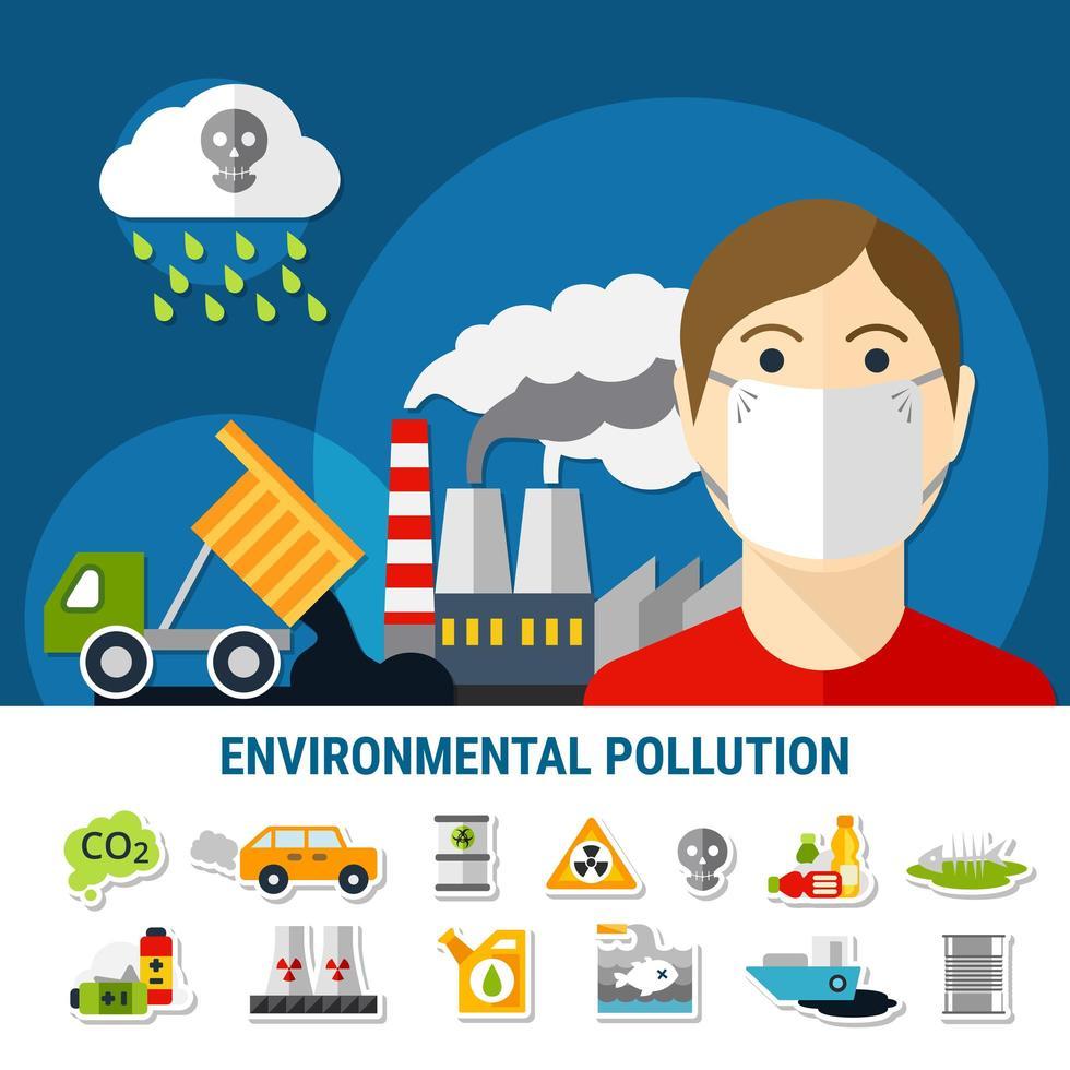 banner de poluição ambiental vetor