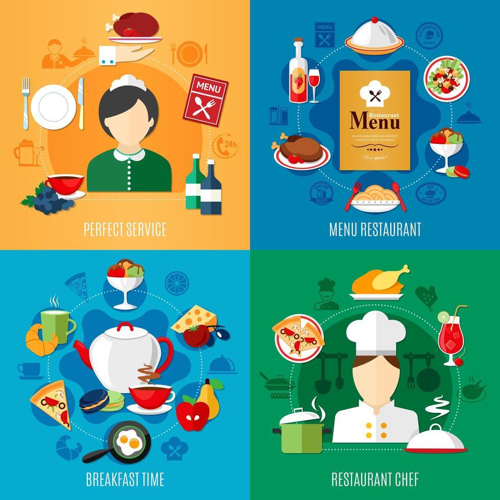 conjunto quadrado de conceito de design de restaurante vetor