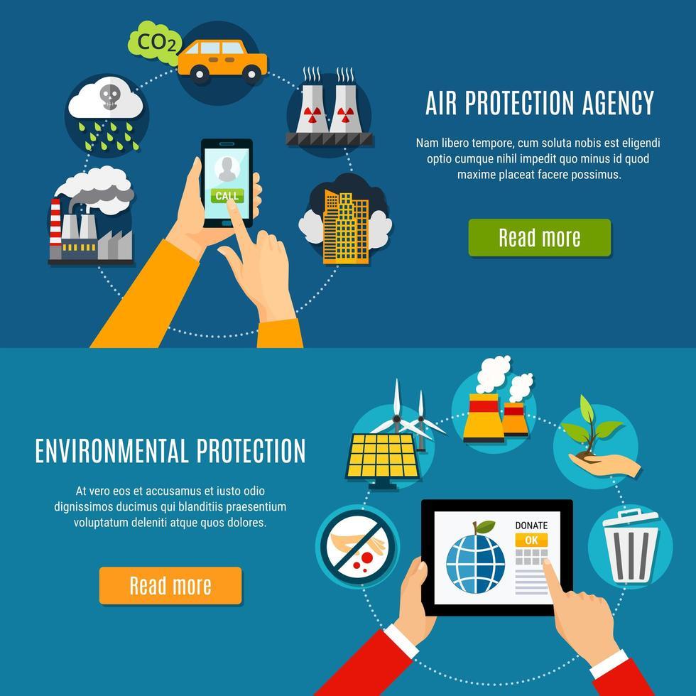 conjunto de banner de proteção ambiental vetor