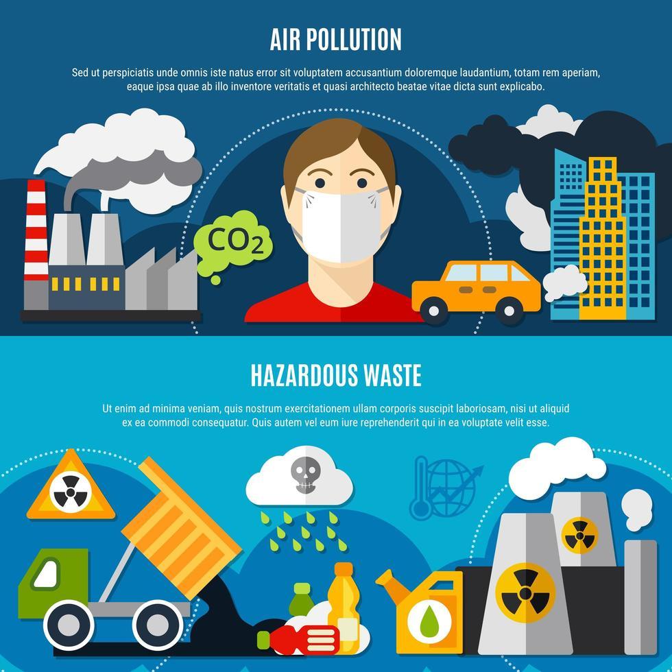 conjunto de banners de problemas de poluição vetor